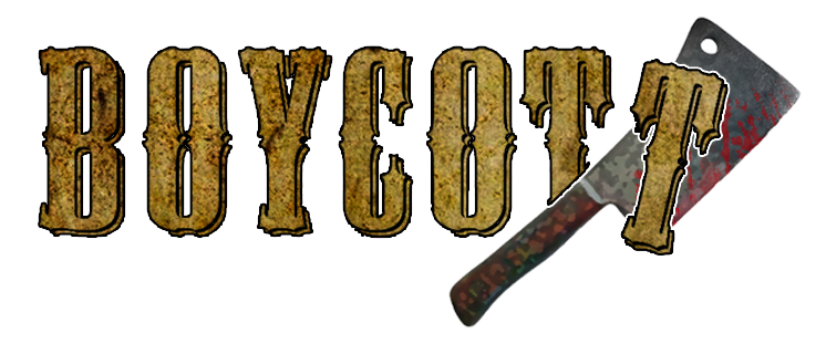 Boycott Logo New With Cleaver and Blood