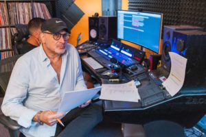 """Jeff Mustard, TV Series Creator, Writer/Producer at engineering board with Engineer/Mixer, Rob Roa, producing music for his show, """"Boycott,"""" inspired by the real-life events of the 1902 Kosher Beef Boycott."""