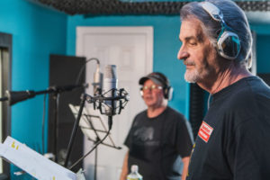 Actors/Singers, Dave Corey (front), & Avi Hoffman, recording Baron's Beware, a song, written & produced by, Jeff Mustard, for the musical version of his TV Show, Boycott.