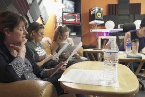 Vocal Talent, Patti Gardner, Sandi Stock, Celia Roberts & Sabrina Gore rehearsing music written by Jeff Mustard for his TV Series & B'Way Musical, Boycott