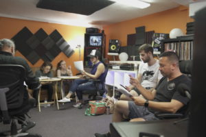 """Pre-Rehearsal of """"Boycott,"""" musical in engineering studio with four female ensemble cast, Engineer/Mixer, Rob Roa, Jeff Mustard, and Michael Certo, JM asst."""