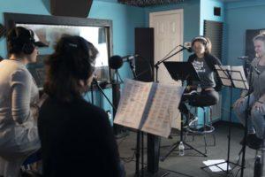 "Full Female Ensemble Vocal Cast - Patti Gardner, Sabrina Gore, Celia Roberts, Sandi Stock recording music for ""Boycott"" a TV Series/B'Way-style show written by Jeff Mustard"