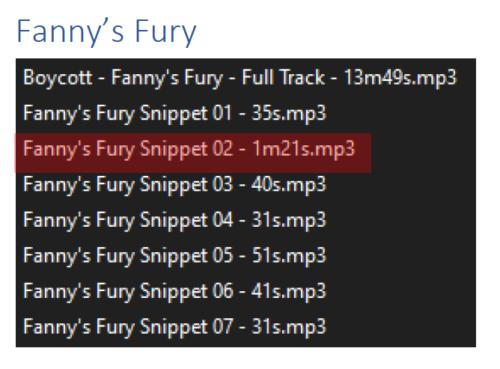 Fanny's Fury Ctaalogue